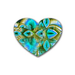 Crystal Gold Peacock, Abstract Mystical Lake Drink Coasters (Heart)