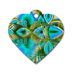 Crystal Gold Peacock, Abstract Mystical Lake Dog Tag Heart (Two Sided)