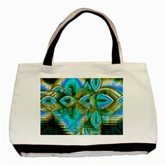 Crystal Gold Peacock, Abstract Mystical Lake Twin Sided Black Tote Bag