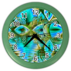 Crystal Gold Peacock, Abstract Mystical Lake Wall Clock (Color)