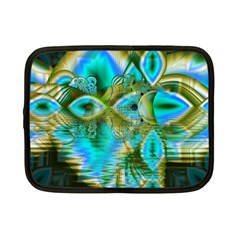 Crystal Gold Peacock, Abstract Mystical Lake Netbook Sleeve (small)