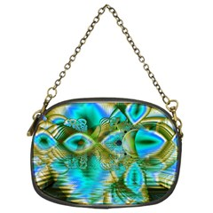 Crystal Gold Peacock, Abstract Mystical Lake Chain Purse (One Side)