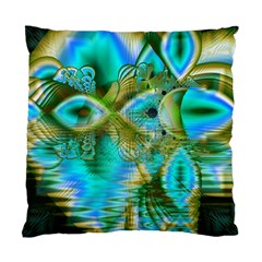 Crystal Gold Peacock, Abstract Mystical Lake Cushion Case (Two Sided)