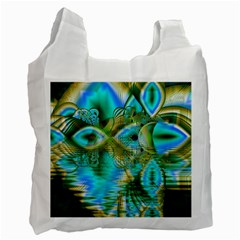Crystal Gold Peacock, Abstract Mystical Lake White Reusable Bag (Two Sides)