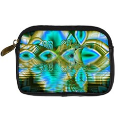 Crystal Gold Peacock, Abstract Mystical Lake Digital Camera Leather Case