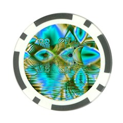 Crystal Gold Peacock, Abstract Mystical Lake Poker Chip (10 Pack)