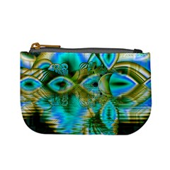 Crystal Gold Peacock, Abstract Mystical Lake Coin Change Purse
