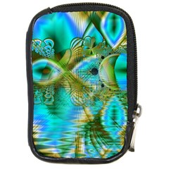 Crystal Gold Peacock, Abstract Mystical Lake Compact Camera Leather Case