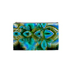 Crystal Gold Peacock, Abstract Mystical Lake Cosmetic Bag (Small)