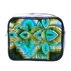 Crystal Gold Peacock, Abstract Mystical Lake Mini Travel Toiletry Bag (One Side)