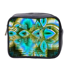 Crystal Gold Peacock, Abstract Mystical Lake Mini Travel Toiletry Bag (Two Sides)