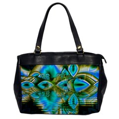 Crystal Gold Peacock, Abstract Mystical Lake Oversize Office Handbag (One Side)
