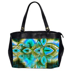 Crystal Gold Peacock, Abstract Mystical Lake Oversize Office Handbag (Two Sides)