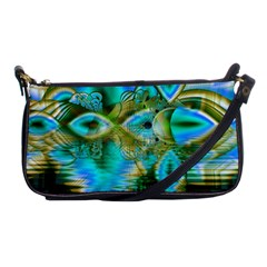 Crystal Gold Peacock, Abstract Mystical Lake Evening Bag