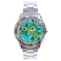 Crystal Gold Peacock, Abstract Mystical Lake Stainless Steel Watch