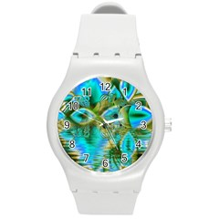 Crystal Gold Peacock, Abstract Mystical Lake Plastic Sport Watch (medium)