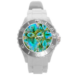 Crystal Gold Peacock, Abstract Mystical Lake Plastic Sport Watch (Large)