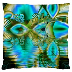 Crystal Gold Peacock, Abstract Mystical Lake Large Cushion Case (Two Sided)