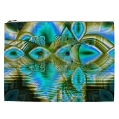 Crystal Gold Peacock, Abstract Mystical Lake Cosmetic Bag (XXL)