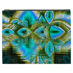 Crystal Gold Peacock, Abstract Mystical Lake Cosmetic Bag (XXXL)