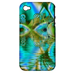 Crystal Gold Peacock, Abstract Mystical Lake Apple Iphone 4/4s Hardshell Case (pc+silicone)