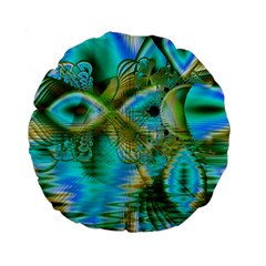 Crystal Gold Peacock, Abstract Mystical Lake 15  Premium Round Cushion