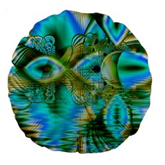 Crystal Gold Peacock, Abstract Mystical Lake 18  Premium Round Cushion