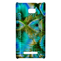 Crystal Gold Peacock, Abstract Mystical Lake HTC 8X Hardshell Case