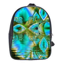 Crystal Gold Peacock, Abstract Mystical Lake School Bag (XL)
