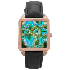 Crystal Gold Peacock, Abstract Mystical Lake Rose Gold Leather Watch