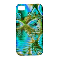 Crystal Gold Peacock, Abstract Mystical Lake Apple iPhone 4/4S Hardshell Case with Stand