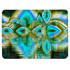 Crystal Gold Peacock, Abstract Mystical Lake Samsung Galaxy Tab 7  P1000 Flip Case