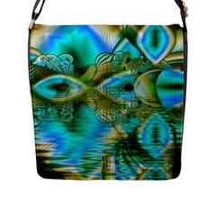 Crystal Gold Peacock, Abstract Mystical Lake Flap Closure Messenger Bag (Large)