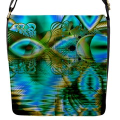 Crystal Gold Peacock, Abstract Mystical Lake Flap Closure Messenger Bag (Small)