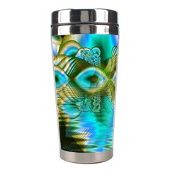 Crystal Gold Peacock, Abstract Mystical Lake Stainless Steel Travel Tumbler