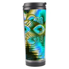 Crystal Gold Peacock, Abstract Mystical Lake Travel Tumbler