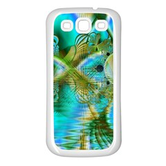 Crystal Gold Peacock, Abstract Mystical Lake Samsung Galaxy S3 Back Case (White)