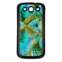 Crystal Gold Peacock, Abstract Mystical Lake Samsung Galaxy S3 Back Case (Black)