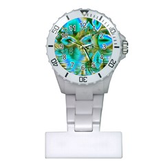 Crystal Gold Peacock, Abstract Mystical Lake Nurses Watch