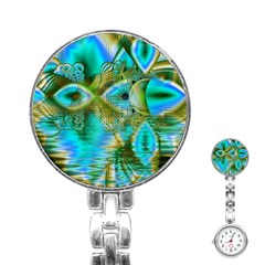 Crystal Gold Peacock, Abstract Mystical Lake Stainless Steel Nurses Watch
