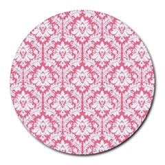 White On Soft Pink Damask 8  Mouse Pad (round)