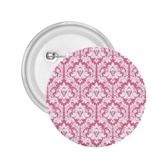 White On Soft Pink Damask 2.25  Button