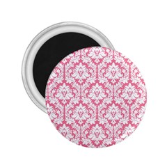 White On Soft Pink Damask 2.25  Button Magnet