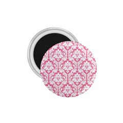 White On Soft Pink Damask 1 75  Button Magnet