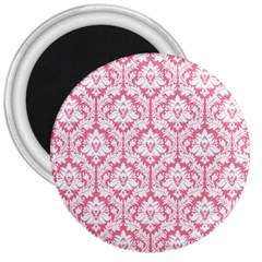 White On Soft Pink Damask 3  Button Magnet