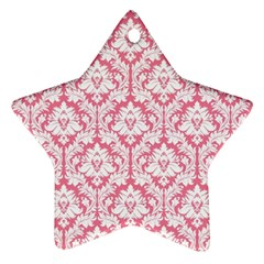 White On Soft Pink Damask Star Ornament