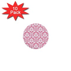 White On Soft Pink Damask 1  Mini Button (10 pack)