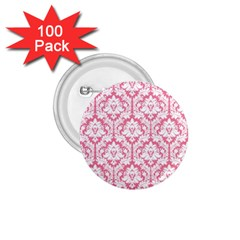 White On Soft Pink Damask 1.75  Button (100 pack)