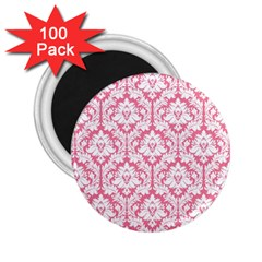 White On Soft Pink Damask 2.25  Button Magnet (100 pack)