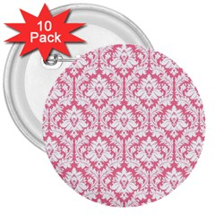 White On Soft Pink Damask 3  Button (10 pack)